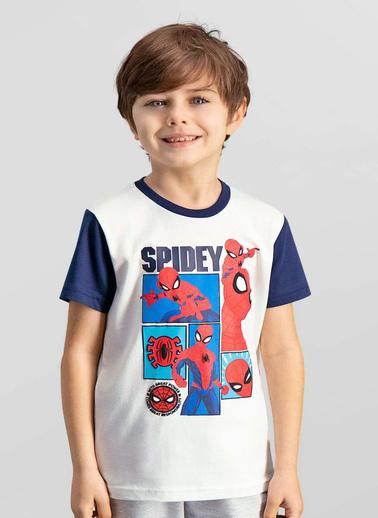 Spider-Man Spider Man Lisanslı Siyah Erkek Çocuk T-Shirt Krem